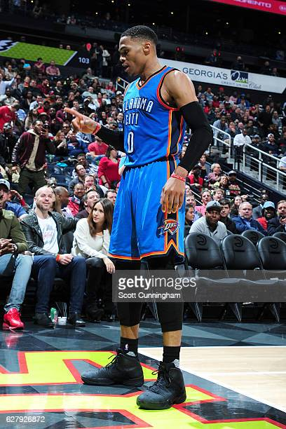 Russell Westbrook of the Oklahoma City Thunder reacts during the game against the Atlanta Hawks on December 5 2016 at Philips Arena in Atlanta...