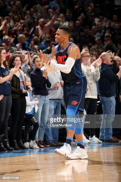 Russell Westbrook of the Oklahoma City Thunder reacts during the game against the Houston Rockets on December 25 2017 at Chesapeake Energy Arena in...