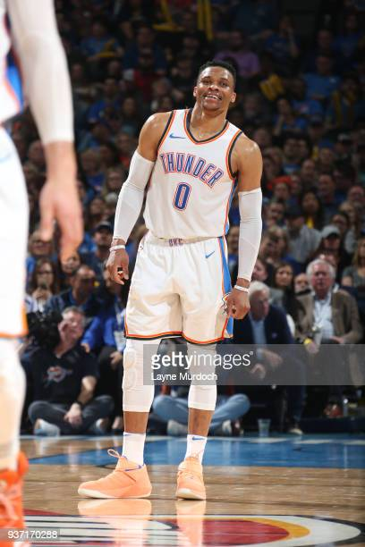 Russell Westbrook of the Oklahoma City Thunder reacts during the game against the Miami Heat on March 23 2018 at Chesapeake Energy Arena in Oklahoma...