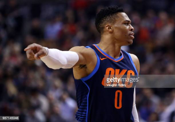 Russell Westbrook of the Oklahoma City Thunder reacts during the first half of an NBA game against the Toronto Raptors at Air Canada Centre on March...