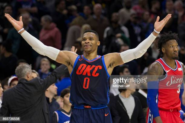 Russell Westbrook of the Oklahoma City Thunder reacts in front of Robert Covington of the Philadelphia 76ers after the game at the Wells Fargo Center...