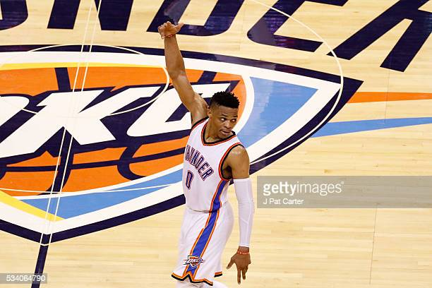 Russell Westbrook of the Oklahoma City Thunder reacts in the first half against the Golden State Warriors in game four of the Western Conference...