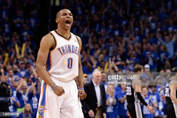 Russell Westbrook of the Oklahoma City Thunder reacts in the fourth quarter while taking on the San Antonio Spurs in Game Three of the Western...