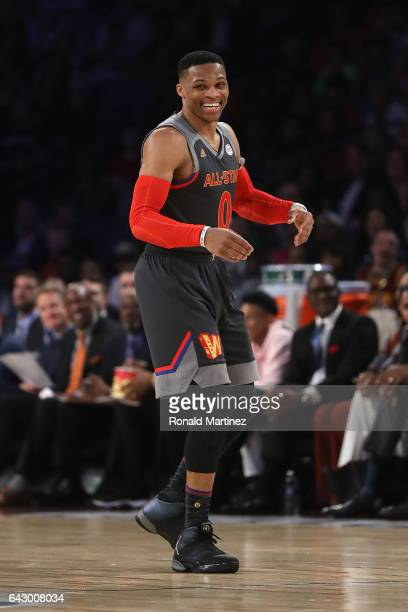 Russell Westbrook of the Oklahoma City Thunder reacts in the second half of the 2017 NBA AllStar Game at Smoothie King Center on February 19 2017 in...