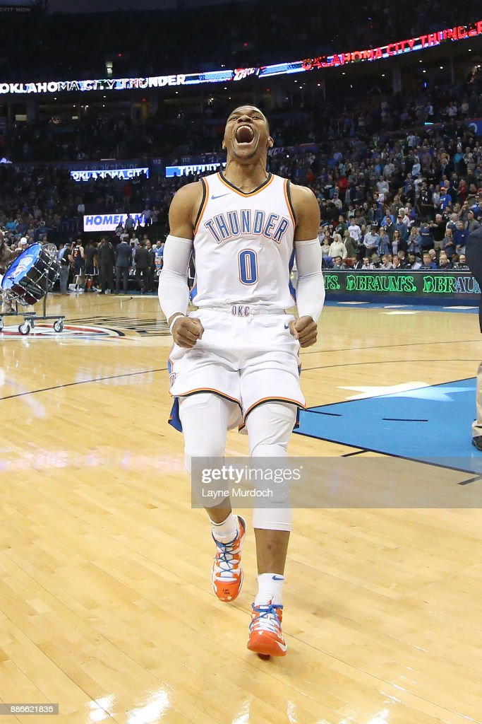 Russell Westbrook #0 of the Oklahoma City Thunder reacts on the court before the game against the Utah Jazz on December 5, 2017 at Chesapeake Energy Arena in Oklahoma City, Oklahoma.