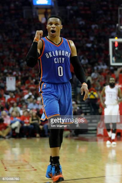 Russell Westbrook of the Oklahoma City Thunder reacts to a call against the Houston Rockets in the first half of Game Two of the Western Conference...