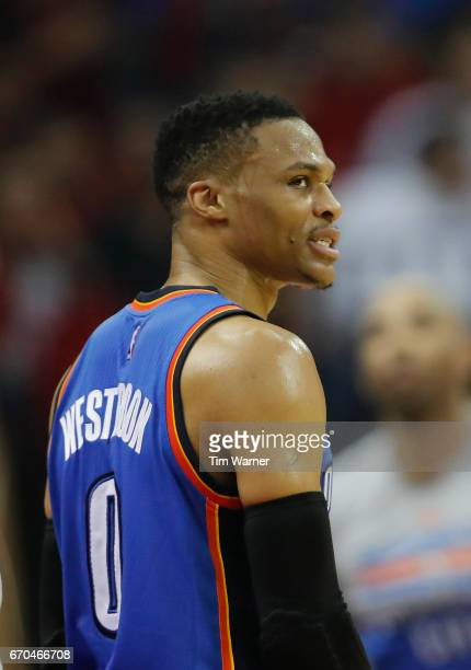 Russell Westbrook of the Oklahoma City Thunder reacts to a foul call in the first half of Game Two of the Western Conference quarterfinals game...