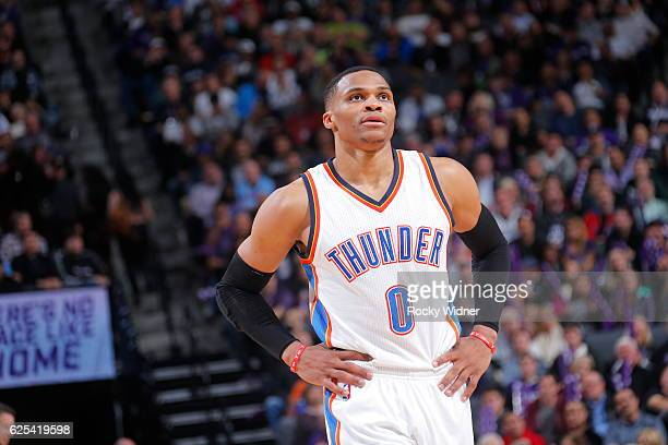 Russell Westbrook of the Oklahoma City Thunder reacts to a play against the Sacramento Kings during the game on November 23 2016 at Golden 1 Center...