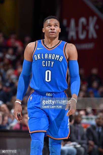 Russell Westbrook of the Oklahoma City Thunder reacts to a play against the Cleveland Cavaliers on January 20 2018 at Quicken Loans Arena in...