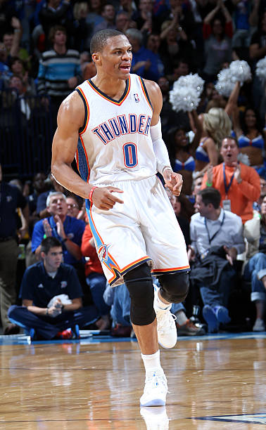 Russell Westbrook 0 Of The Oklahoma City Thunder Runs Up Court Against Denver Nuggets