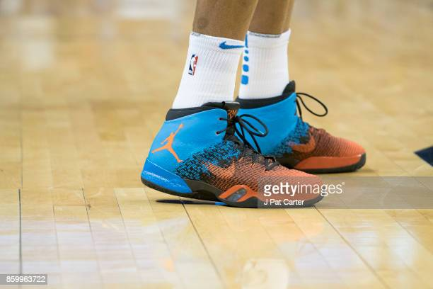 Russell Westbrook of the Oklahoma City Thunder shoes are seen during the first half of a NBA preseason game at the Chesapeake Energy Arena on October...
