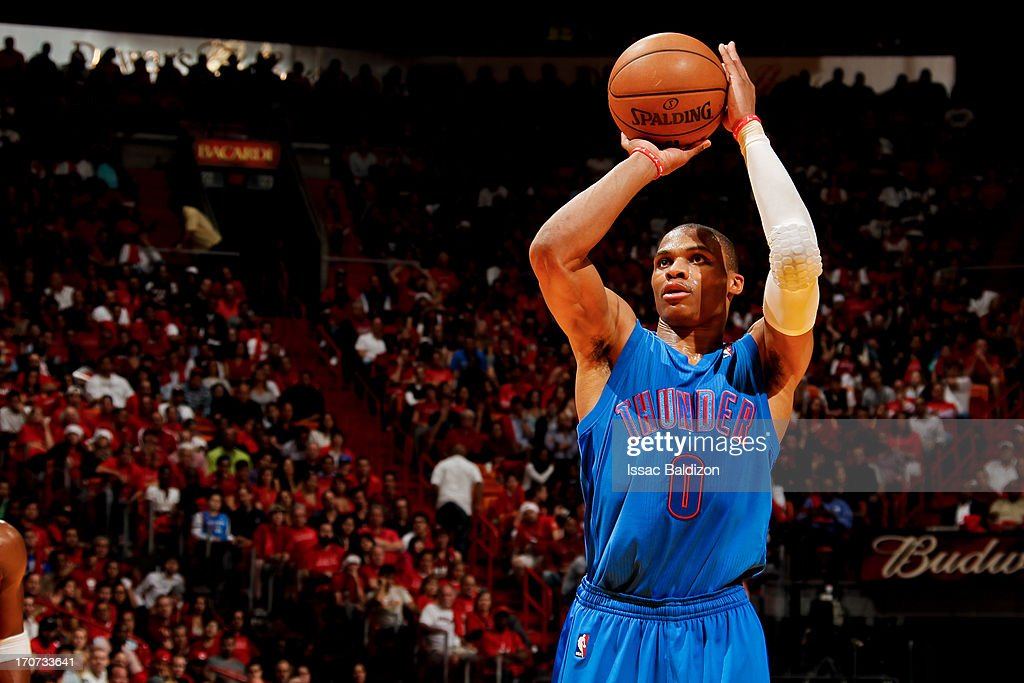 Russell Westbrook #0 of the Oklahoma City Thunder shoots a free-throw against the Miami Heat during a Christmas Day game on December 25, 2012 at American Airlines Arena in Miami, Florida.