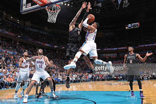 Russell Westbrook of the Oklahoma City Thunder shoots a lay up against the Phoenix Suns on October 28 2016 at the Chesapeake Energy Arena in Oklahoma...