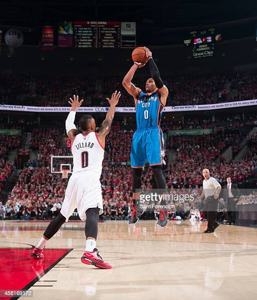 Russell Westbrook of the Oklahoma City Thunder shoots against the Portland Trail Blazers on October 29 2014 at the Moda Center Arena in Portland...
