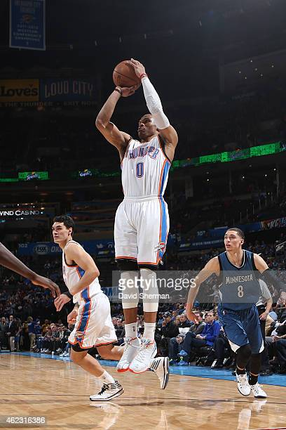 Russell Westbrook of the Oklahoma City Thunder shoots against the Minnesota Timberwolves on January 26 2015 at Chesapeake Energy Arena in Oklahoma...
