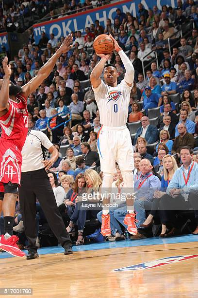 Russell Westbrook of the Oklahoma City Thunder shoots against the Houston Rockets on March 22 2016 at Chesapeake Energy Arena in Oklahoma City...