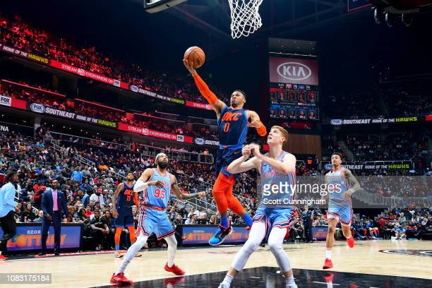 Russell Westbrook of the Oklahoma City Thunder shoots the ball during the game against the Atlanta Hawks on January 15, 2019 at State Farm Arena in...