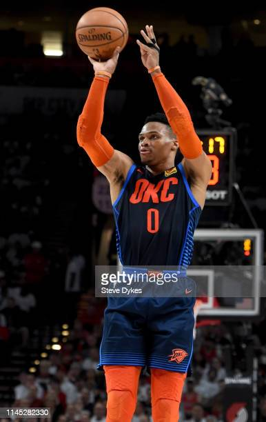 Russell Westbrook of the Oklahoma City Thunder shoots the ball during the second half of Game Five of the Western Conference quarterfinals against...