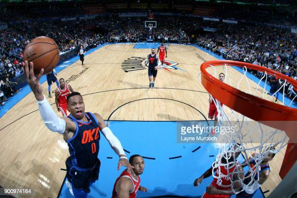 Russell Westbrook of the Oklahoma City Thunder shoots the ball during the game against the Houston Rockets on December 25 2017 at Chesapeake Energy...