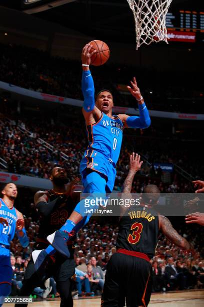 Russell Westbrook of the Oklahoma City Thunder shoots the ball during the game against the Cleveland Cavaliers on January 20 2018 at Quicken Loans...