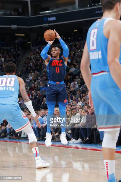 Russell Westbrook of the Oklahoma City Thunder shoots the ball against the Sacramento Kings on November 19 2018 at Golden 1 Center in Sacramento...