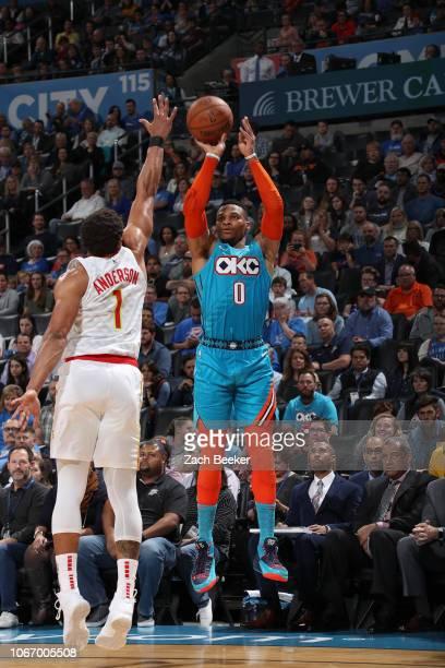 Russell Westbrook of the Oklahoma City Thunder shoots the ball against the Atlanta Hawks on November 30 2018 at Chesapeake Energy Arena in Oklahoma...