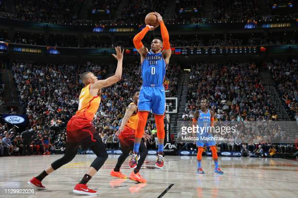 Russell Westbrook of the Oklahoma City Thunder shoots the ball against the Utah Jazz on March 11 2019 at vivintSmartHome Arena in Salt Lake City Utah...