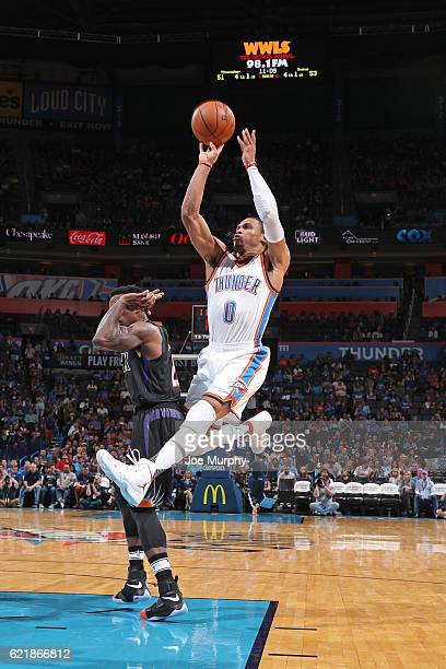 Russell Westbrook of the Oklahoma City Thunder shoots the ball against the Phoenix Suns on October 28 2016 at the Chesapeake Energy Arena in Oklahoma...