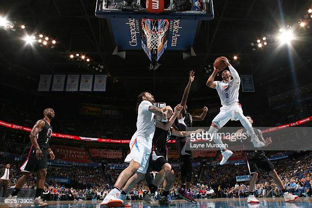 Russell Westbrook of the Oklahoma City Thunder shoots the ball against the LA Clippers on November 11 2016 at Chesapeake Energy Arena in Oklahoma...