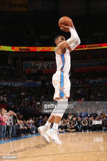Russell Westbrook of the Oklahoma City Thunder shoots the ball against the Atlanta Hawks on December 22 2017 at Chesapeake Energy Arena in Oklahoma...