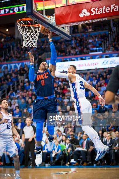 Russell Westbrook of the Oklahoma City Thunder shoots the ball against the Philadelphia 76ers on January 28 2018 at Chesapeake Energy Arena in...