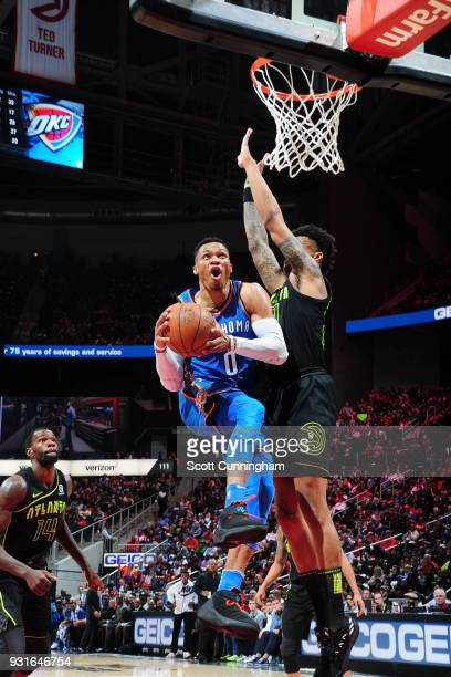 Russell Westbrook of the Oklahoma City Thunder shoots the ball against the Atlanta Hawks on March 13 2018 at Philips Arena in Atlanta Georgia NOTE TO...