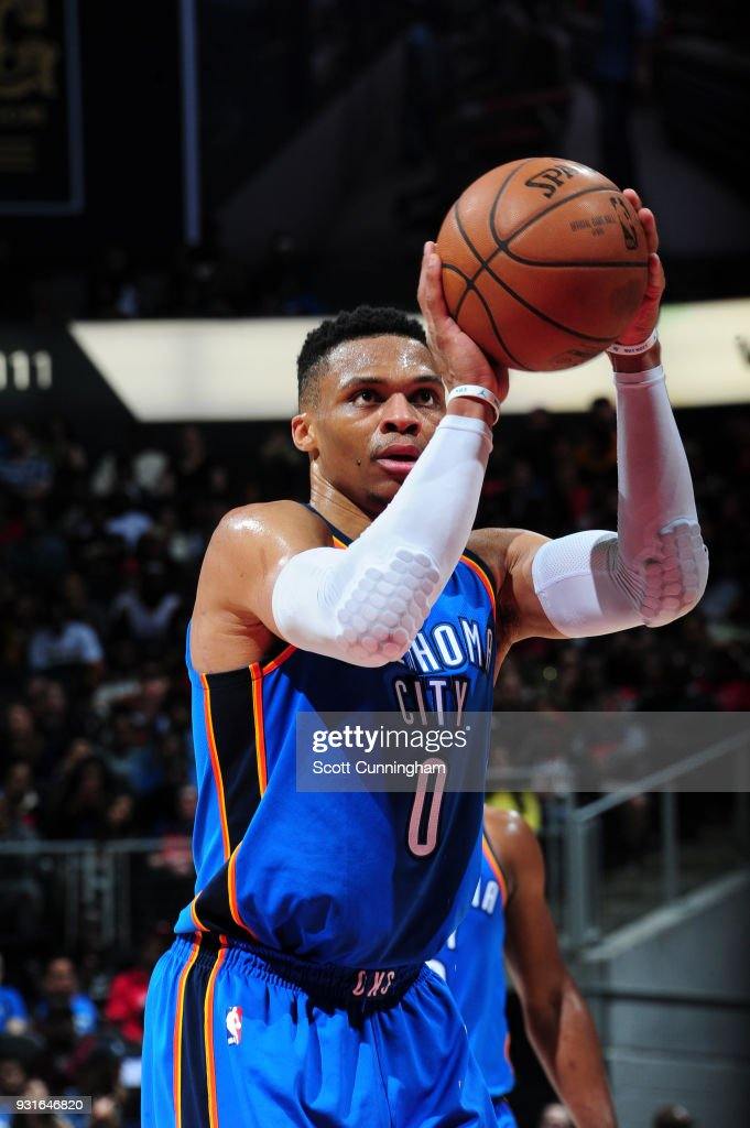 Russell Westbrook #0 of the Oklahoma City Thunder shoots the ball against the Atlanta Hawks on March 13, 2018 at Philips Arena in Atlanta, Georgia.