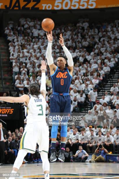 Russell Westbrook of the Oklahoma City Thunder shoots the ball against the Utah Jazz in Game Four of Round One of the 2018 NBA Playoffs on April 23...