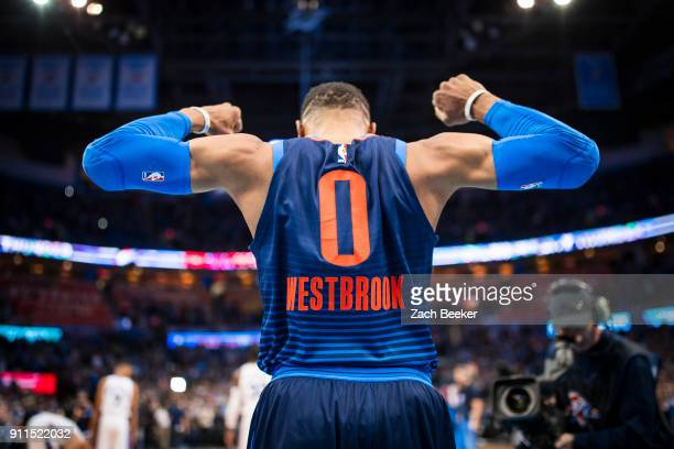 Russell Westbrook of the Oklahoma City Thunder shouts in excitement before the game against the Philadelphia 76ers on January 28 2018 at Chesapeake...