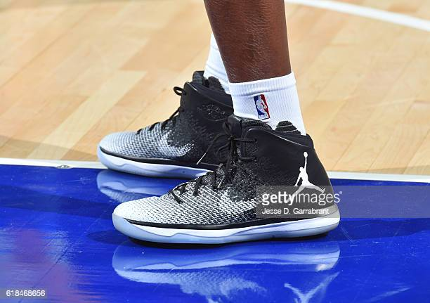 Russell Westbrook of the Oklahoma City Thunder showcases his jordan sneakers against Philadelphia 76ers during game at the Wells Fargo Center on...