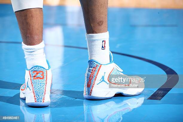 Russell Westbrook of the Oklahoma City Thunder showcases his sneakers against the San Antonio Spurs in Game 6 of the Western Conference Finals during...