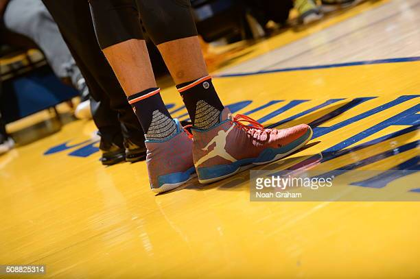 Russell Westbrook of the Oklahoma City Thunder sneakers during the game against the Golden State Warriors on February 6 2016 at ORACLE Arena in...
