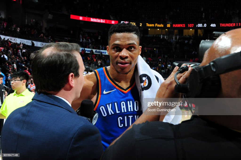 Russell Westbrook #0 of the Oklahoma City Thunder speaks to media after game against the Atlanta Hawks on March 13, 2018 at Philips Arena in Atlanta, Georgia.