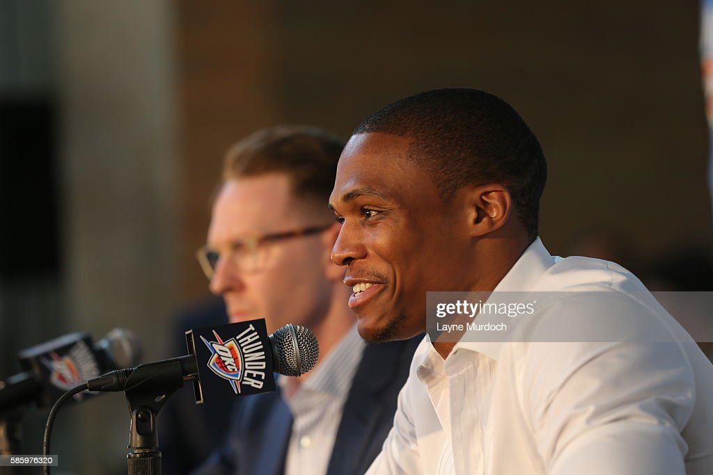Russell Westbrook of the Oklahoma City Thunder speaks to the media at a press conference after signing a contract extension on August 4, 2016 at the Chesapeake Energy Arena in Oklahoma City, Oklahoma.