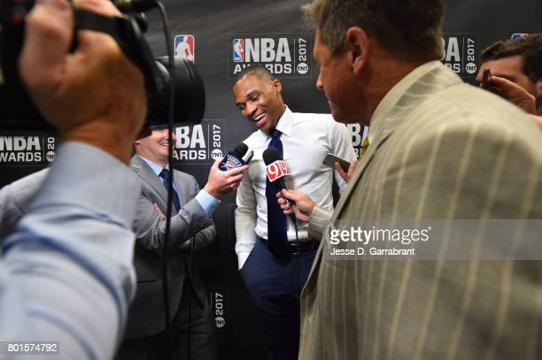 Russell Westbrook of the Oklahoma City Thunder speaks to the media after winning the Most Valuable Player of the Year award during the 2017 NBA...