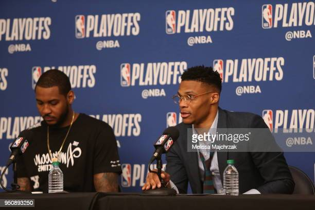Russell Westbrook of the Oklahoma City Thunder speaks with media after the game against the Utah Jazz in Game Four of Round One of the 2018 NBA...