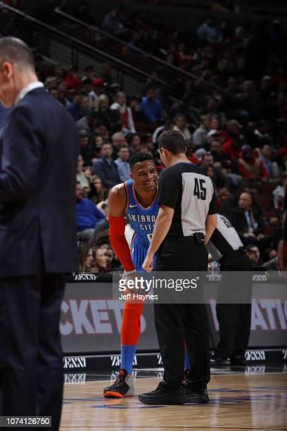 Russell Westbrook of the Oklahoma City Thunder speaks with Referee official Brian Forte during the game against the Chicago Bulls on December 7 2018...