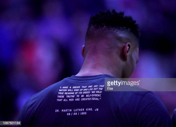 Russell Westbrook of the Oklahoma City Thunder stands for the national anthem before the game against the New York Knicks at Madison Square Garden on...