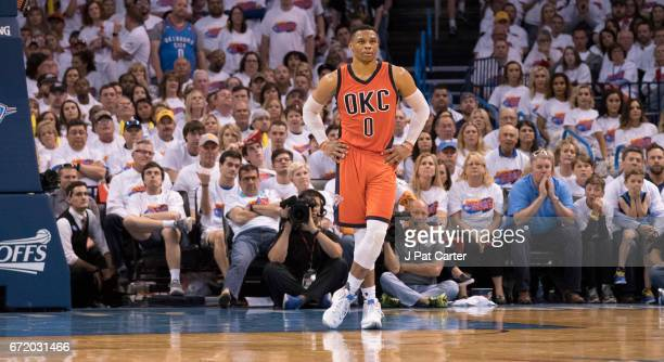 Russell Westbrook of the Oklahoma City Thunder stands on the far end of the court during the second half of Game Four against the Houston Rockets in...