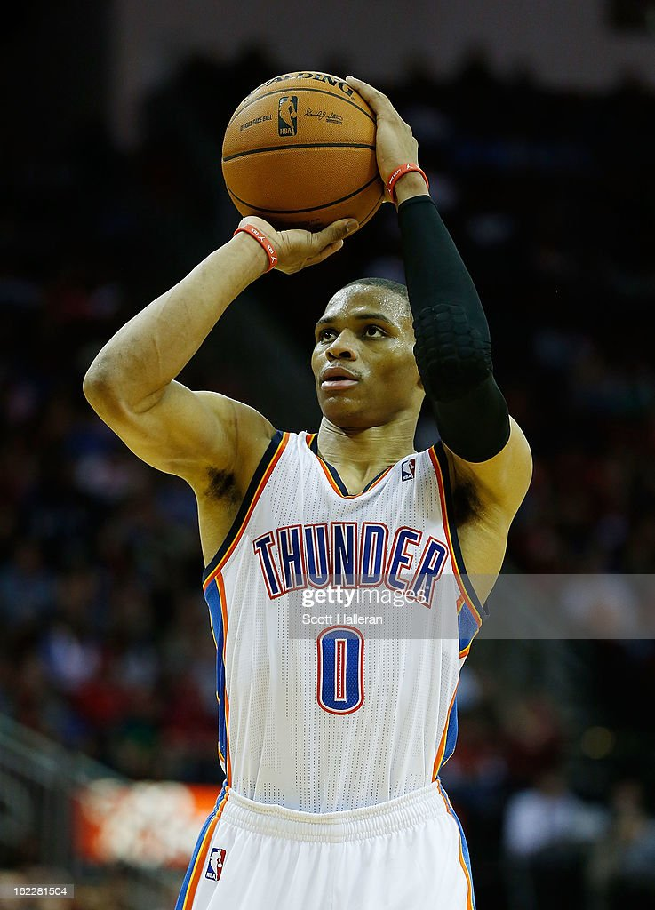 Russell Westbrook #0 of the Oklahoma City Thunder takes a free throw during the game against the Houston Rockets at Toyota Center on February 20, 2013 in Houston, Texas.