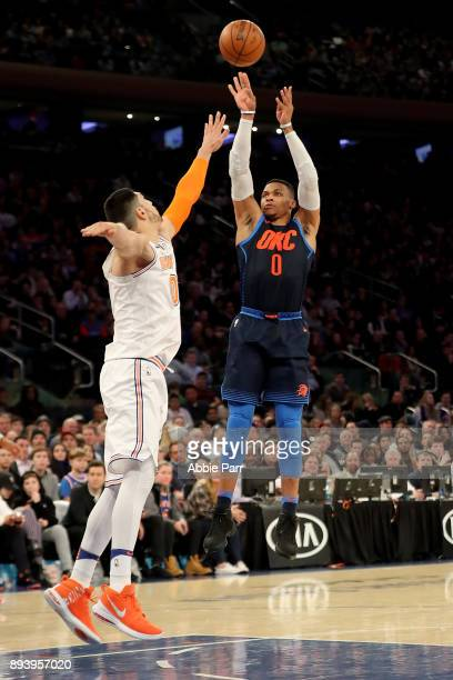 Russell Westbrook of the Oklahoma City Thunder takes a shot against Enes Kanter of the New York Knicks in the second quarter during their game at...