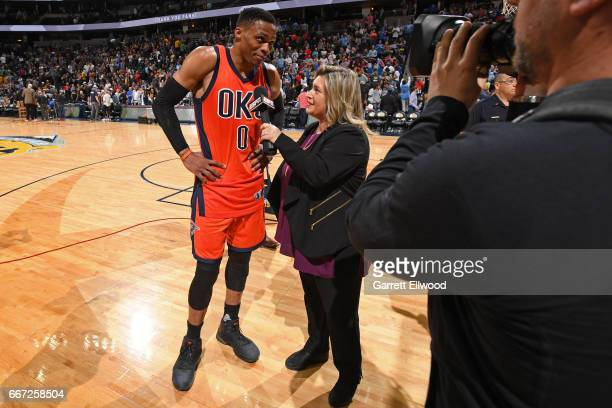 Russell Westbrook of the Oklahoma City Thunder talks to ESPN reporter Ramona Shelburne after hitting the game winning shot and recording his record...