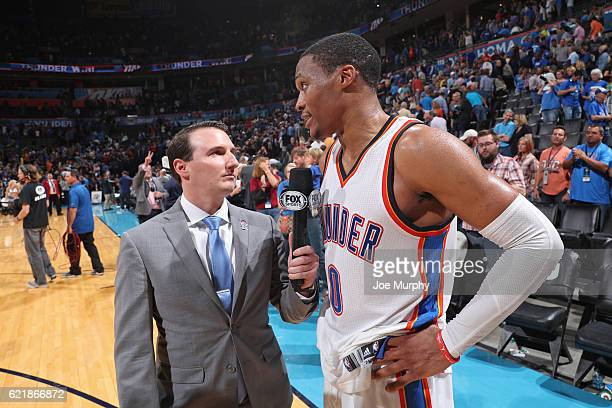 Russell Westbrook of the Oklahoma City Thunder talks to media after the game against the Phoenix Suns on October 28 2016 at the Chesapeake Energy...