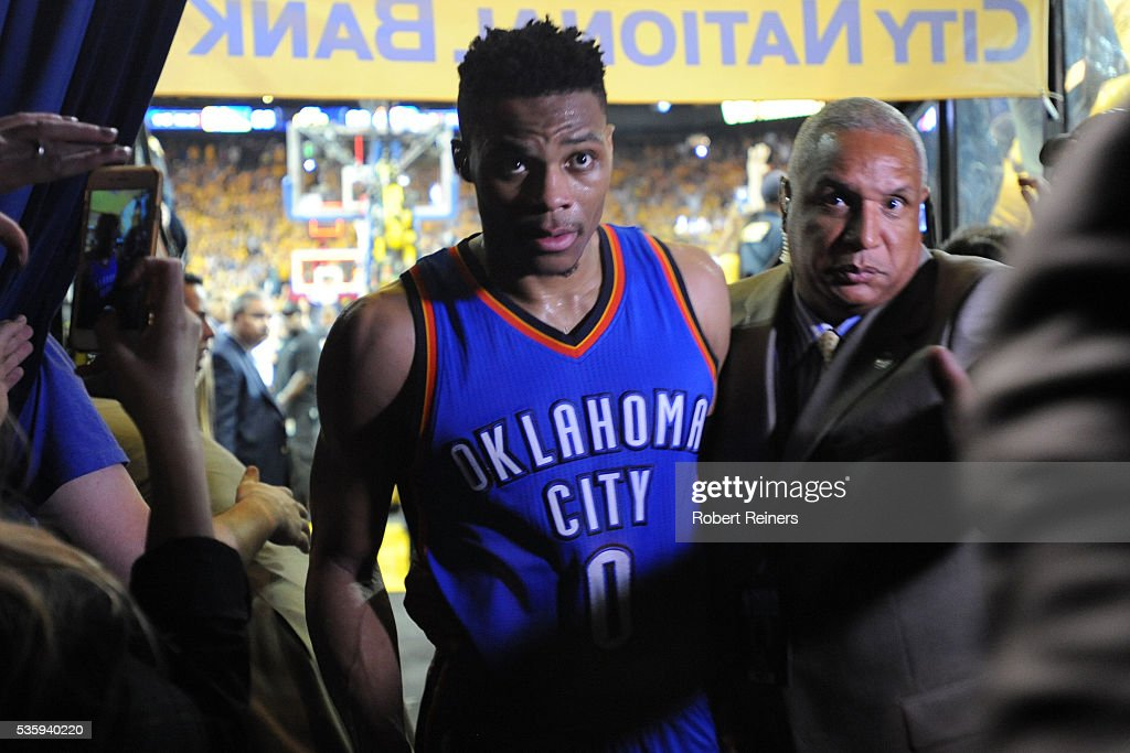 Russell Westbrook #0 of the Oklahoma City Thunder walks off the court after being defeated 96-88 by the Golden State Warriors in Game Seven of the Western Conference Finals during the 2016 NBA Playoffs at ORACLE Arena on May 30, 2016 in Oakland, California.
